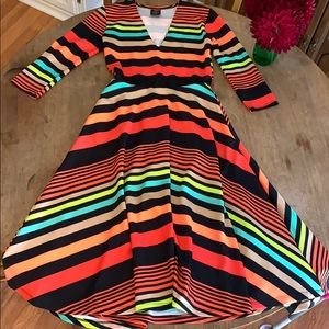 Agnes and Dora Curie Midi stripe dress XS